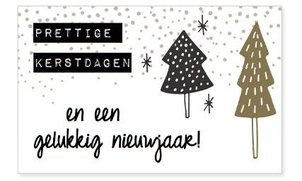 Prettige Kerstdagen En Een Gelukkig Nieuwjaar Zuiver Postkaart Zwart Wit Goud Feestdagen Editie