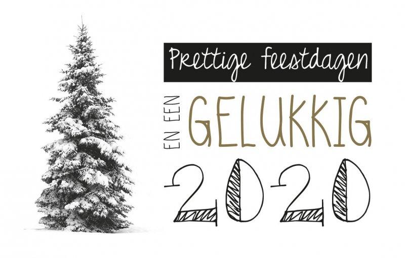Prettige Feestdagen En Een Gelukkig 2020 Zuiver Postkaart Zwart Wit Goud Feestdagen Editie