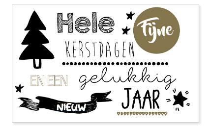 Hele Fijne Kerstdagen En Een Gelukkig Nieuw Jaar Zuiver Postkaart Zwart Wit Goud Feestdagen Editie